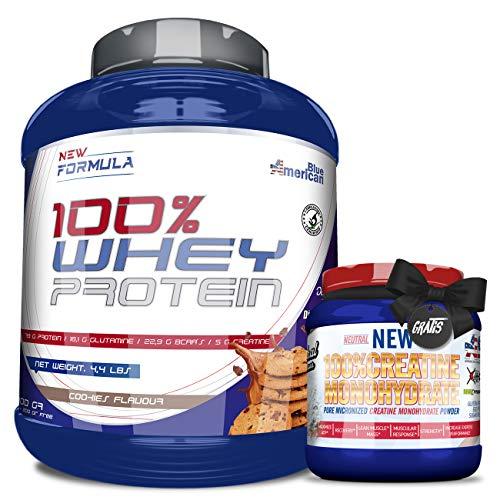 OFERTA, BLUE Whey Protein, Proteína en polvo + 300GR CREATINA O PRE-ENTRENO GRATIS - REGALO, Suplementos deportivos, American Blue - 2kg (COOKIES)