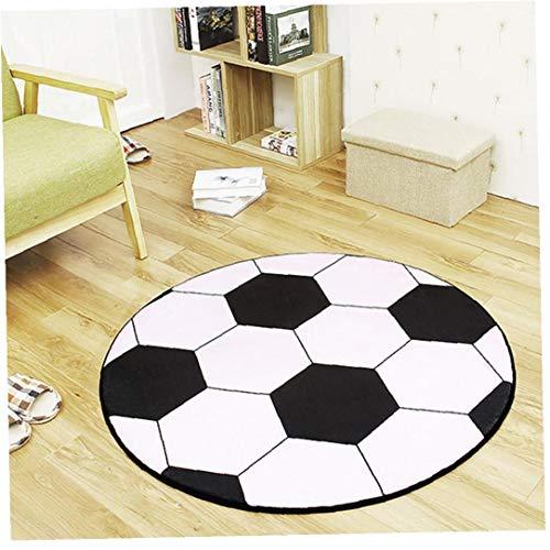Odoukey 80 cm Fußball Teppich, Fußball Teppich, Runde zur Fußball-Kinderteppich für Couchtisch Stuhl Mat Kreative Entwurfs-handgemachter Teppich