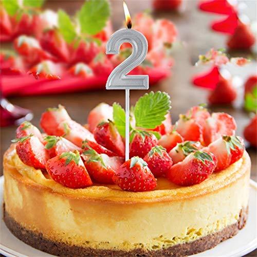 Hahuha Kerzen Nummer, Silber Geburtstag Ziffer Kerzen Nummer Kuchen Dekor für Erwachsene/Kinder Party Home Decor