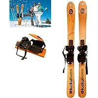 GXYWPF Esquí De Nieve De Madera Maciza, Tabla De Snowboard Profesional, Esquís, Trineo, Niños Adultos, Snowboard, Esquí Alpino, Esquí De Fondo, Deportes Al Aire Libre,Skis,1.1m