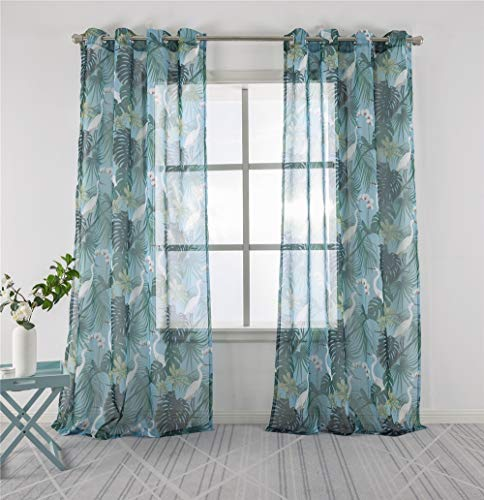 Sheer Curtains with Tropical Plants Printed, Bedroom Window Drapes Grommet Top Window Drapes 63 inch, 2 Panels, Green Leaf Pattern