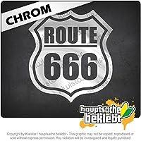 ルート666 Route 666 11cm x 10cm 15色 - ネオン+クロム! ステッカービニールオートバイ