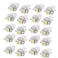 uxcell 車ライト LEDランプ バルブ ゲージ ホワイト T5 B8.5D 5050 1 SMD