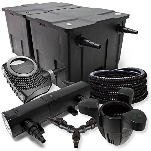 SunSun Filter Set für 60000l Teich 36W Teichklärer NEO8000 70W Pumpe 25m Schlauch Skimmer SK30