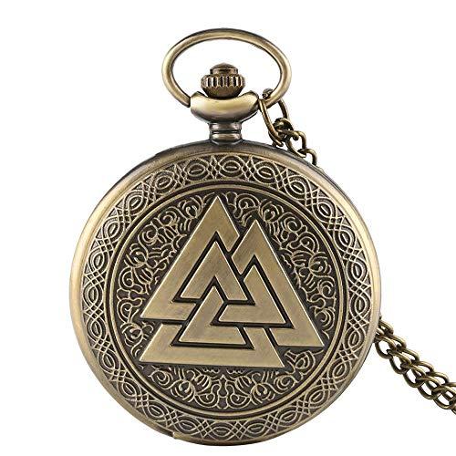 WMYATING Exquisito, hermoso, elegante y único diseño de bronce vintage triángulo nórdico collar de cuarzo reloj de bolsillo mujeres hombres regalo