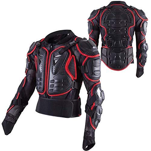 VOMI Chaqueta de Moto Chaqueta Protectora Cuerpo Armadura Profesional de Motocicleta Protección Cuerpo Entero Spine Chest para Hombres Mujeres, Protección Armadura Traje (Red,4XL)