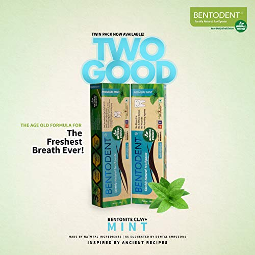 Bentodent Natural Toothpaste for Entire Family Incl Kids | SLS Free, Fluoride Free | Freshens Breath, Helps Reduce Plaque by Brushing | Premium Mint (Pack of 2)