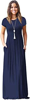 Meou & Moi Women's Short Sleeve Loose Fit Casual Maxi Dress with Pockets (L, Navy Blue)