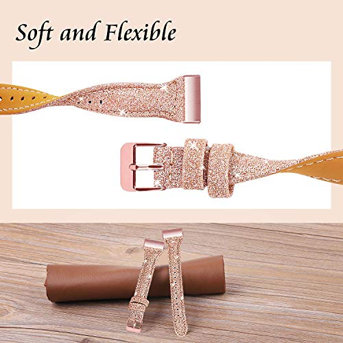 Mornex Strap Compatible Charge 3 & 4 Strap, Genuine Leather Replacement Strap for Women Men, Shiny Rose Gold