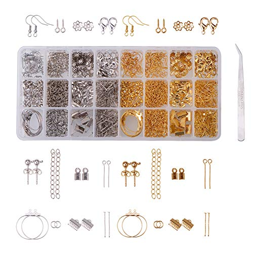 PandaHall Elite 1 Box DIY Earring Making Kit Earring Hook/lobster Claw Clasp/Jump Ring/Cord End/Bead Cap/Ribbon End/Eyepin/Headpin/Ring Hoop Earring/Extender Chain/Screw Eye/Earring for Jewelry Making