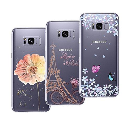 Yokata Cover per Samsung Galaxy S8 Custodia Silicone Gel TPU Trasparente con Disegni Morbido Ultra Sottile Slim Antiurto Protettiva Cover [3 Pack] - Torre Bicicletta + Farfalla + Fiore