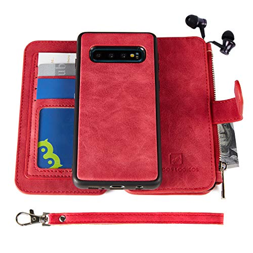 Samsung Galaxy S10 Case, Modos Logicos [Detachable Wallet Folio][2 in 1][Zipper Cash Storage][Up to 14 Card Slots 1 Photo Window] PU Leather Purse with Removable Inner Magnetic TPU Case - Red