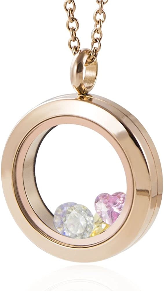 EVERLEAD Rose Gold Charms Locket 316L Stainless Steel Pendant Necklace Including Chains and Colorful Zircon