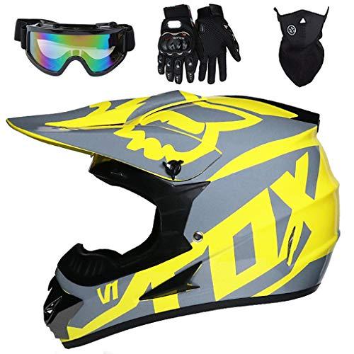 Aidasone YEDIA-01 - Casco de moto para niños con gafas, guantes y máscara, unisex de cara completa, casco de motocicleta para MTB Dirt Bike MX Downhill Racing, con diseño FOX, amarillo, XL