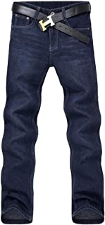 LUKEEXIN Comfortable Trousers Classic Mens Casual Mid-Rise Straight Denim Jeans Long Pants
