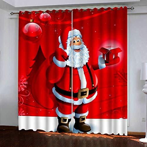 ANAZOZ 2 Cortinas Opacas Cortinas Poliester Habitacion Papá Noel y Regalos Rojo Blanco Cortinas de Ventana Tamaño 214x214CM