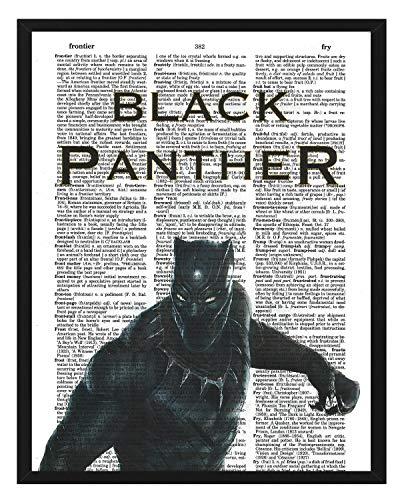 Black Panther Dictionary Art Marvel Comics Black Panther Poster Superhero theme wall art 8x10