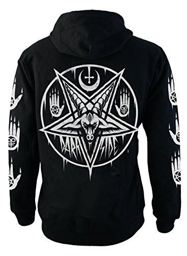 Pentagram Baphomet Hoodie Gothic Satanic Occult Fashion Men's Black Cotton Zip-up Sweater