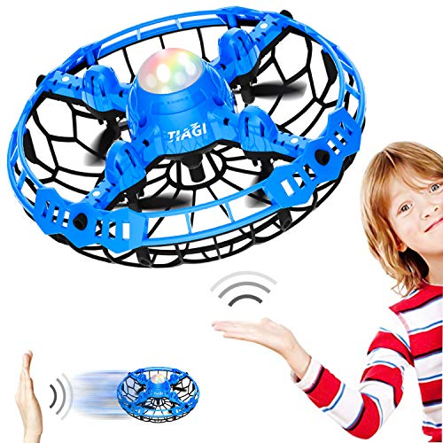 Tiagi Mini Drone Hand Operated Drones for Kids and Adults, UFO Flying Ball Drone Motion Sensor Helicopter Toys Gifts for Boys and Girls - Blue