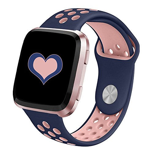 DEKER for Fitbit Versa Bands for Women Men Small Large Wrist, Breathable Soft Fitness Sport Silicone Strap Replacement Accessories Wristbands for Fitbit Versa Smart Watch (BluePink, Large)