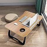 Mesa para Portatil Cama, Mesa de Ordenador Plegable con 4 Puerto de Carga USB, Cajde de...