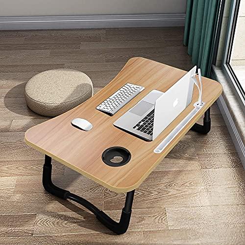 ローテーブル USBポート*4 ベッドテーブル 折り畳みテーブル ノートパソコンデスク ラップトップテーブル ミニテーブル ミニ引き出し カップスロット 凹溝付き 多機能 在宅勤務 ホームオフィス 食事 2.2KG 60x40x26CM(木色)