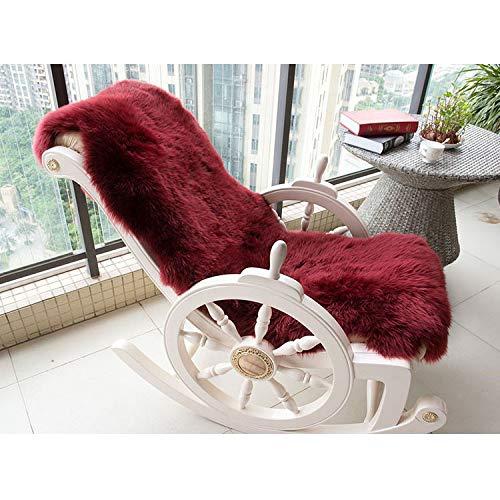 ASDAD groot formaat schapenvacht tapijt voor schommelstoel, winter beige wit shaggy schapen bont bank mat voor thuis decoratie 70X180Cm