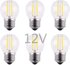 OPALRAY Low Voltage Mini Globe LED Bulb, AC 12V / DC 12V Input, 2W 200Lm, Dimmable with 12V DC Dimmer, E26 Base, Warm Whit...