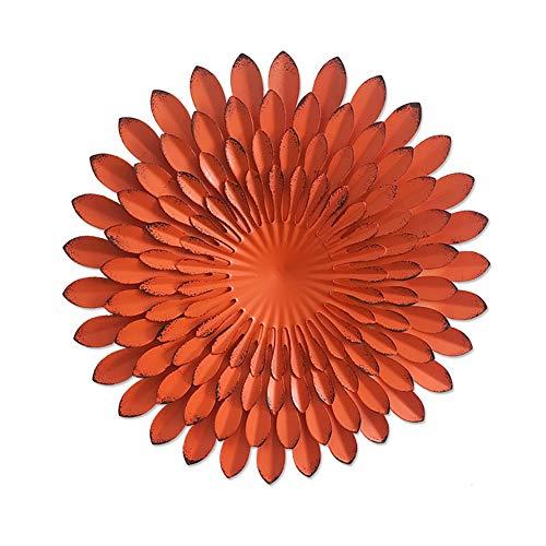 WLHER Décorations d'art Mural Fleur en Métal, Fleurs Faites À La Main De Simulation Tridimensionnelle Peintes Créatives, pour La Maison/Le Jardin/Le Bureau,Orange