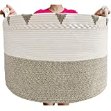 TerriTrophy XXXXLarge Blanket Basket 22in x 22in x 16in Woven Baskets for Blankets Throws Toy Basket Laundry Baskets Storage Basket for Towel, Diaper, Laundry Basket