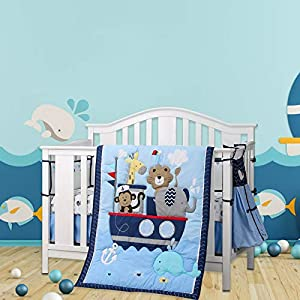 Wowelife Animal Baby Crib Sets Blue Upgraded 9 Piece Monkey Elephant Lion and Giraffe Crib Bedding Sets Cotton with Diaper Stacker(Sea Journey)