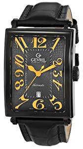 Gevril Men's 5009A Avenue of Americas Automatic-Date Rectangular Black PVD Sapphire Crystal Orange Numbers Alligator Pattern Leather Watch image