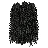 Lady Miranda Pure Color Afro kinky Curly Braiding Hair Extensions Jerry Curl Crochet Hair 3X Braid Hair Short Synthetic Hair Styles (Black)