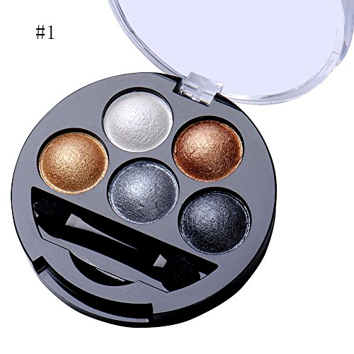 Newest trent 5 Colors Make up Eyeshadow Shimmer Eye Highlight Palette & Cosmetic Brush Makeup...