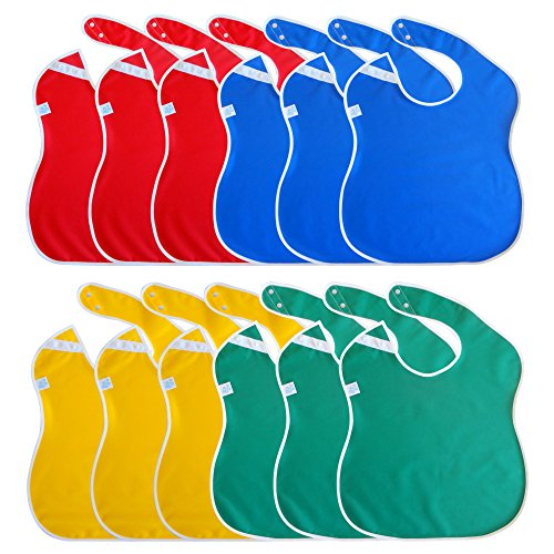 Toppy Toddler LARGE Waterproof Baby Bibs, Snap Buttons, Bib Easily Wipes Clean, Boys and Girls Gift Set 12-Pack (18-48 Months)