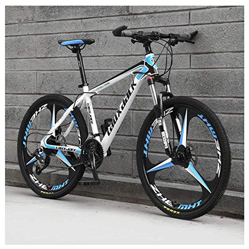 Sport all'Aria Aperta 26'Mountain Bike Pieghevole da 30' a Sospensione Anteriore Bicicletta da Uomo o Donna MTB Telaio in Acciaio ad Alto tenore di Carbonio con Doppio Freno a Olio, Blu