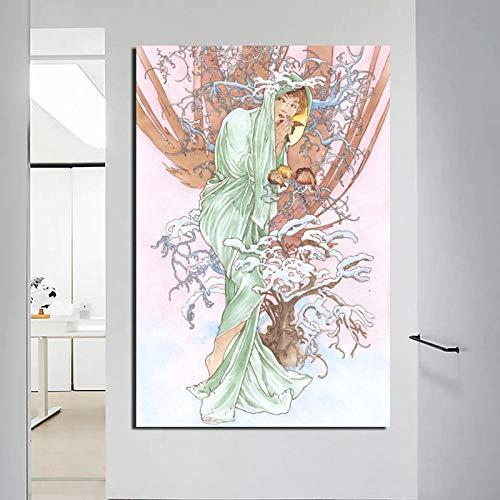 Stripfiguur canvas schilderij printkamer woondecoratie moderne kunst muur poster schilderij fotolijst 60x80 cm (randloze)