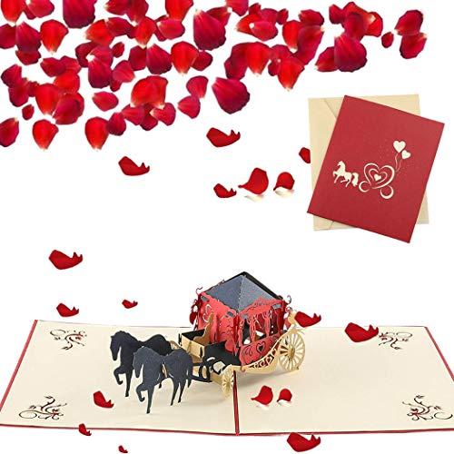 Sethexy 3D Boda Tarjetas de felicitación con sobres Surgir Tarjeta de aniversario Carro Tarjeta de San Valentín Invitaciones de boda blanco Regalo de bodas para esposa Marido Invitados de boda