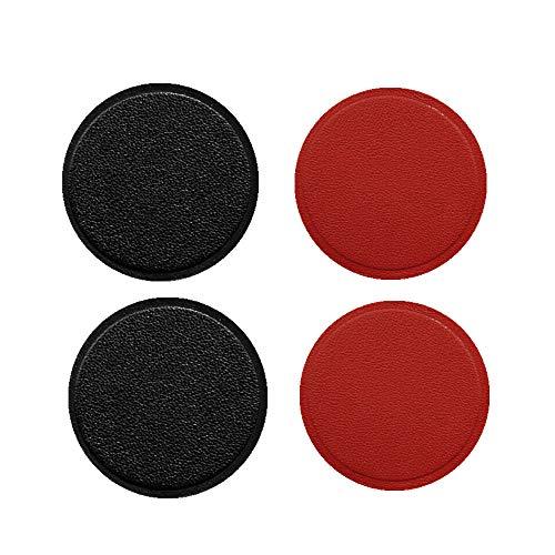 MeetRade 4Pack PU lederen montage metalen plaat met lijm voor magnetische houder auto mount cradle vervanging metalen plaat voor auto mount magneet houder (compatibel met magnetische mounts) zwart en rood Rood+Zwart