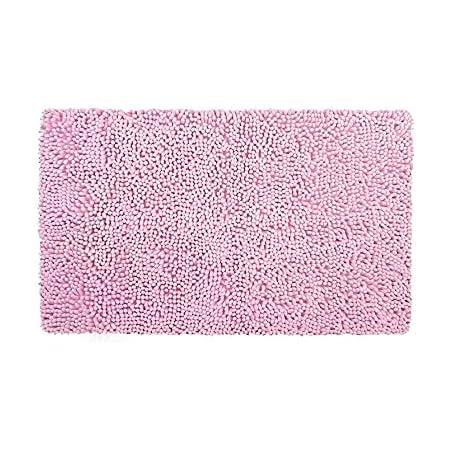 YIQI Alfombra de baño de Felpa de Microfibra de Chenilla, Suave y acogedora, Agua súper Absorbente, Antideslizante, Gruesa para Dormitorio de baño (60x40 cm, Rosado)