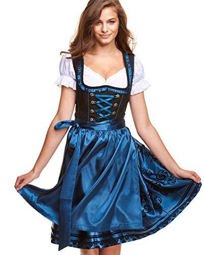 Adelstrachten Dirndl Damen Midi Set 3 teilig mit Bluse und Schürze I Trachtenkleid Damen 3 TLG in Schwarz Kombination von Gr 34 bis 46 KF016 (34, Kf102 Blau)