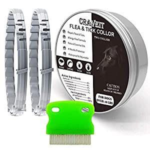 Flea and Tick Collar for Dog, Repels Fleas & Ticks, Natural Essential Oils, Allergy Prevention, 8 Months Protection, Adjustable & Waterproof (2 Packs)