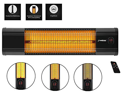 Phönix PCH-2000W infrarood carbon warmtestraler wandverwarming met afstandsbediening verwarmingsstraler terrasverwarming | binnen & buiten | 2000 Watt | afdekhoes & thermostaat & timer & 3 standen