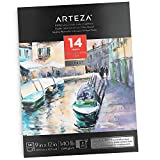 """Arteza 9X12"""" Watercolor Pad, 14 Sheets (140lb/300gsm), 100% Cotton, Double-Sided, Cold-Pressed, Acid-Free Paper, Art Supplies for Watercolor Techniques and Mixed Media"""