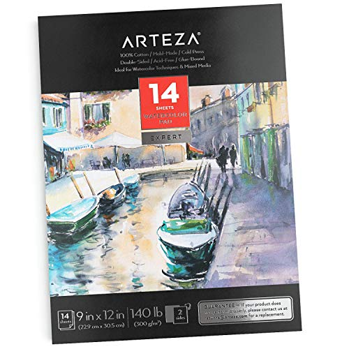 ARTEZA 9X12' Watercolor Pad, 14 Sheets (140lb/300gsm), 100% Cotton, Double-Sided, Cold-Pressed, Acid-Free Paper, Ideal for Watercolor Techniques and Mixed Media