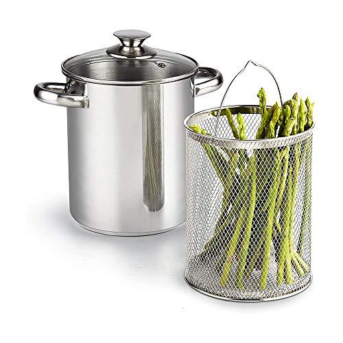 MASTER FENG, pentola per asparagi, in acciaio inox, con cestello e coperchio, 16 cm, con cestello rimovibile, 4 l