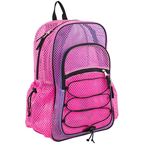 Eastsport XL Semi-Transparent Mesh Backpack with Comfort Padded Straps and Bungee, Lavnder/Pink Combo