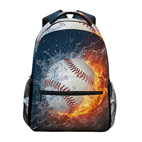 Blueangle Baseball Water Fire Print Travel Backpack for School Water Resistant Bookbag