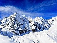 HD 10x7ft(3x2.1m)ゴージャスな冬の青い空白い雲雪山氷自然の風景ホリデーツアースキー誕生日パーティー結婚式の肖像画抽象的なスタジオ写真背景背景391