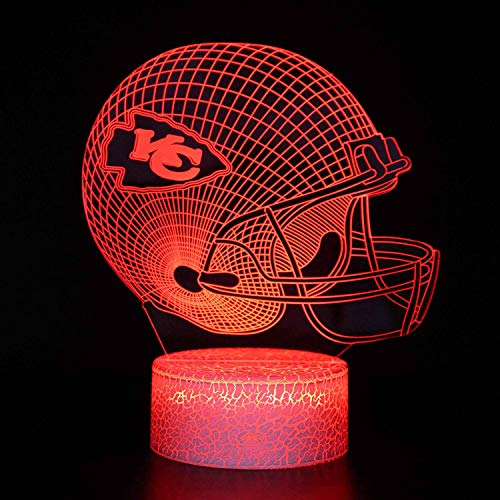 Bigfoot 3D LED Night Light Football Helmet Kansas City Chiefs Flat Acrylic Illusion Lighting Lamp with 7 Colors and Touch Sensor, Sports Fan Nightlight Gift for Kids, Boys, Girls, Men or Women